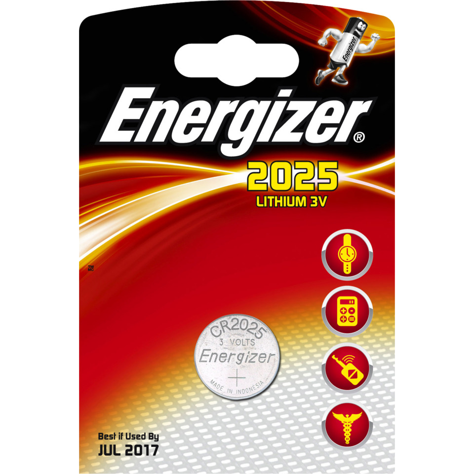 Batteri CR2025 Lithium 3V 170mAh ENERGIZER Ø20x2,5mm