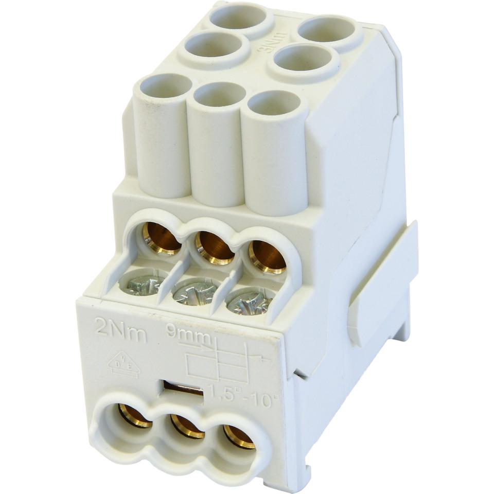 Dist Blokk Al/Cu 100 A  2x (2,5-25mm2)/ 6 x (1,5-10mm2) Grå