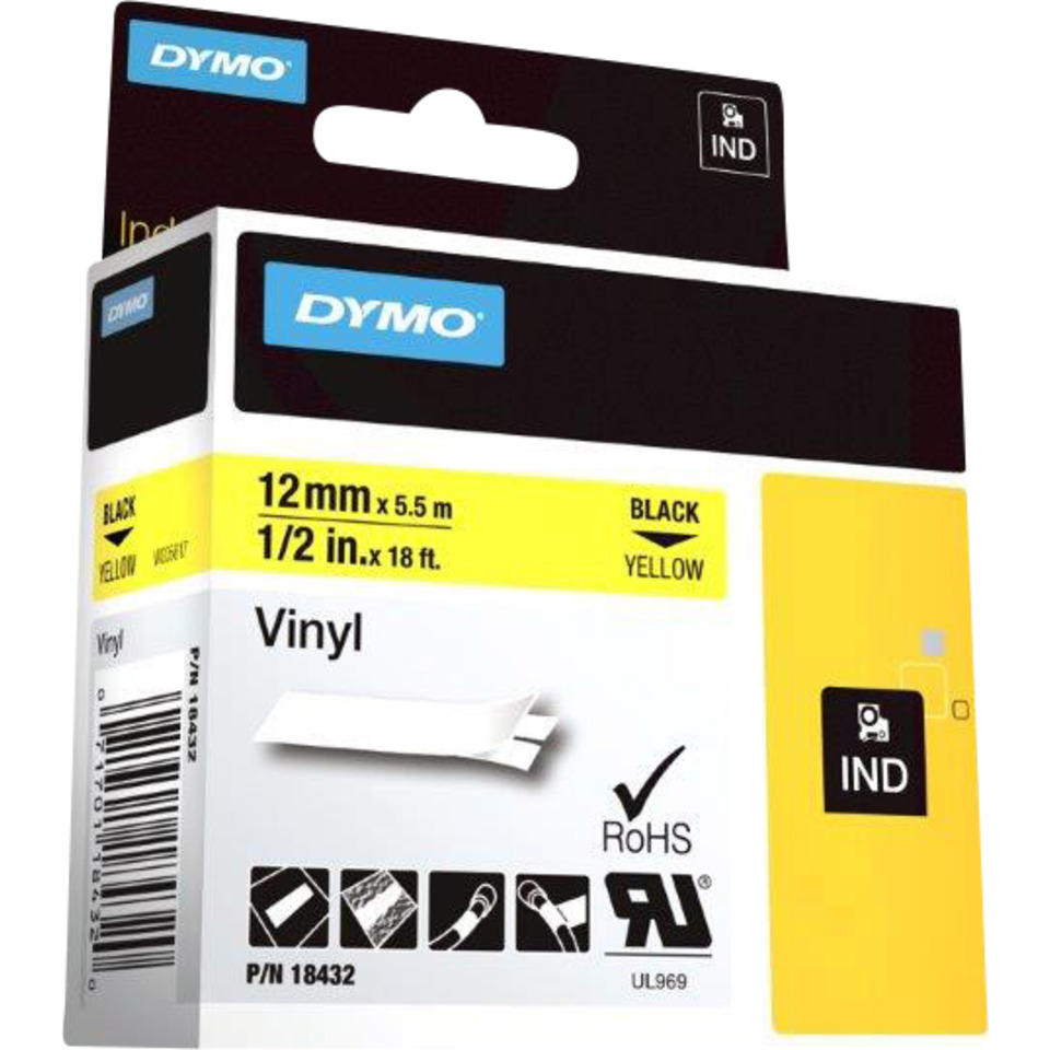 Dymo Rhino 12mm Vinyl sort på gul