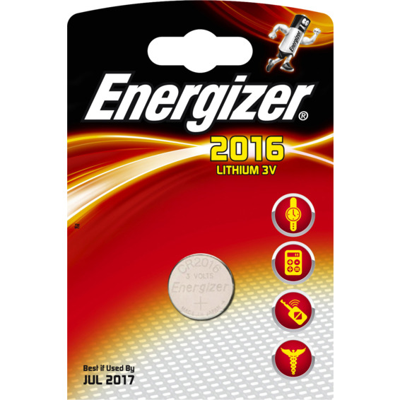 Batteri CR2016 Lithium 3V 80mAh ENERGIZER Ø20x1,6mm