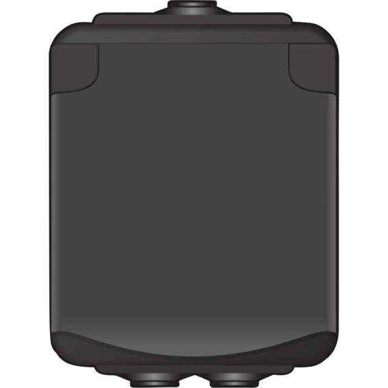Stikkontakt enkel påvegg Sort IP44 AquaBest