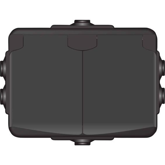Stikkontakt dobbel påvegg Sort IP44 AquaBest