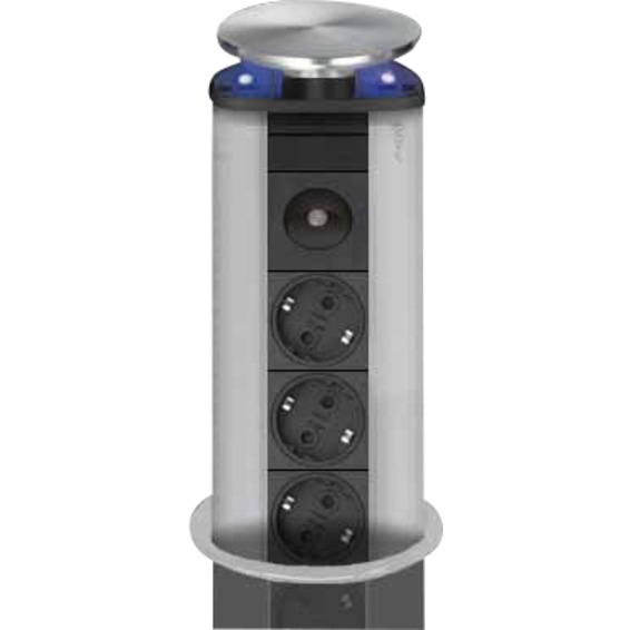 EVOline Port Steel LED 3x stikk, stållokk, Blå LED m/bryter