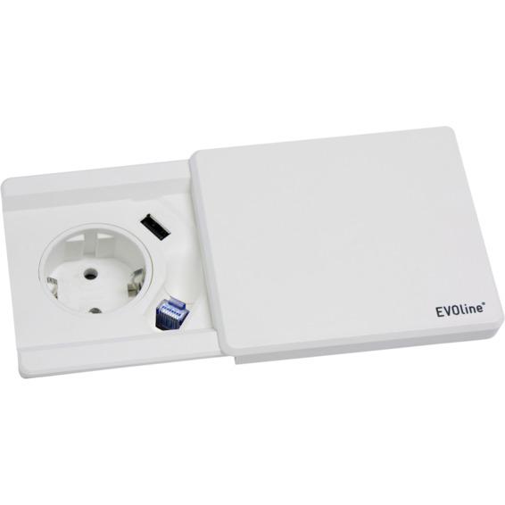 EVOline Square80 hvit 1xStikk 1x1000mA USB Cat.6 dropkabel