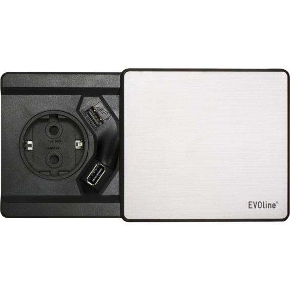 EVOline Square80 sølv 1xstikk 2x1000mA USB
