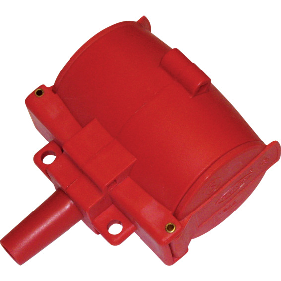 2-Veis kontakt m/jord og klapplokk Rød IP44