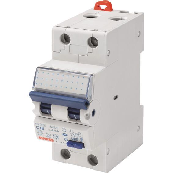 Jordfeilautomat Gewiss 216C 16A 2-pol 2 mod C-karakteristikk