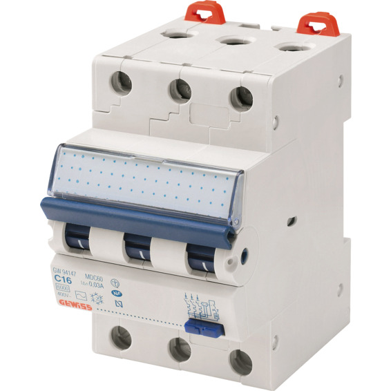 Jordfeilautomat Gewiss 310C 10A 3-pol 3 mod C-karakteristikk