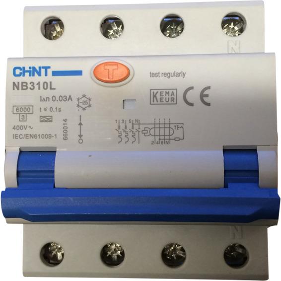 JORDFEILAUT 3+N P 40A C-KAR 30 mA 6kA 4 moduler CV045315