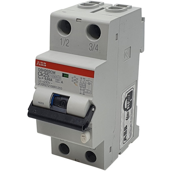 Jordfeilautomat 2p C 25A 30mA DSH202C M Ck25 A30 ABB