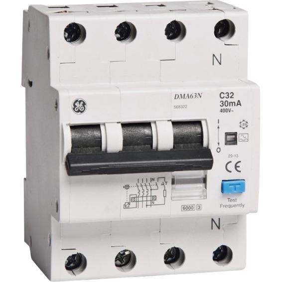 Jordfeilautomat 3+N C-32A 30mA 6kA 4mod GE DMA63N