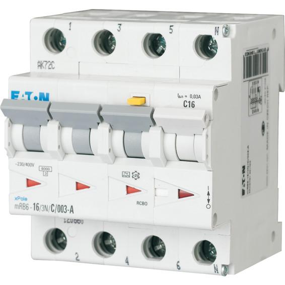 Jordfeilautomat mBR6-10/3N/C/01-A 4-pol Eaton