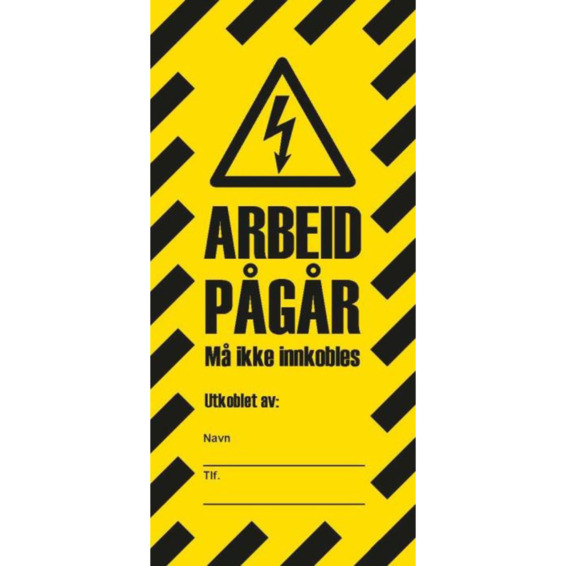 LOCKOUT TAG ARBEID PÅGÅR GUL/SORT 10 stk i pakke
