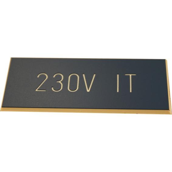 Merkeskilt Selvklebende 230V IT Blå