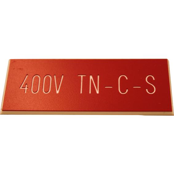 Merkeskilt Selvklebende 400V TN Rødt