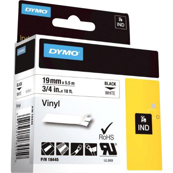 Dymo Rhino 19mm Vinyl sort på hvit