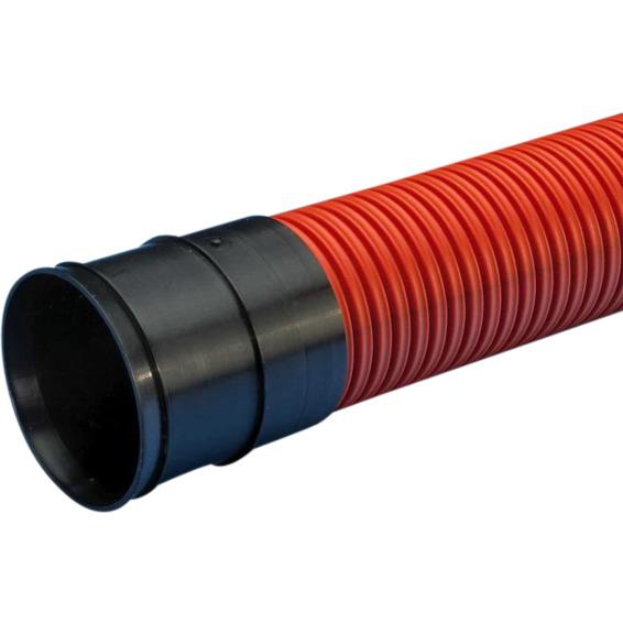 Dobbelvegget kabelrør SN8 110mm Rød. 6 meter lengde