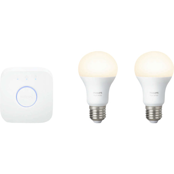 Philips Hue W E27 Lyskilde 9,5W A60 2pk inkl bridge