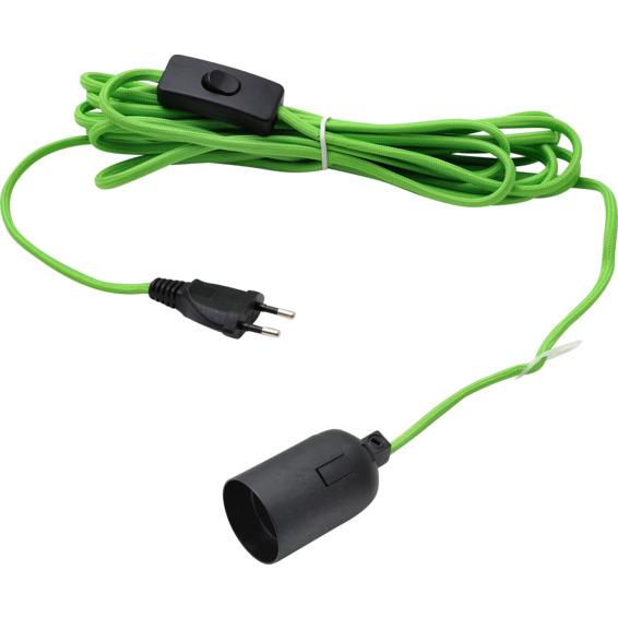 Lampeledning 5M i Grønt stoff m/bryter og E27 Sokkel