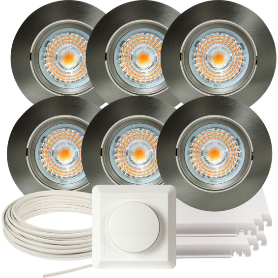 Komplett Alfa LED Downlightpakke Børstet Stål 6 pk