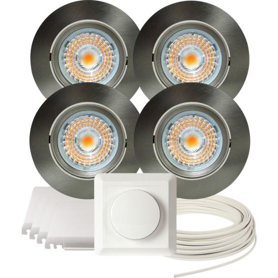 Komplett Alfa LED Downlightpakke Børstet Stål 4 pk