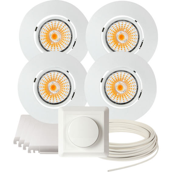 Komplett Altea Tilt LED Downlightpakke Matt Hvit 4 pk