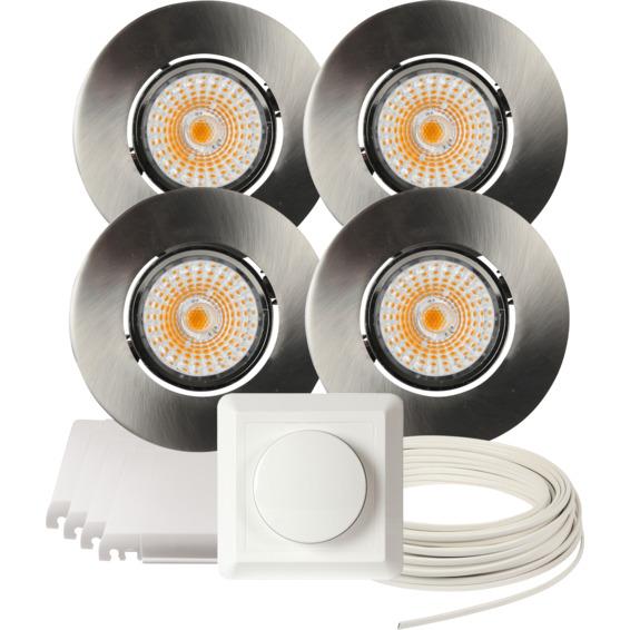 Komplett Altea Tilt LED Downlightpakke Børstet Stål 4 pk