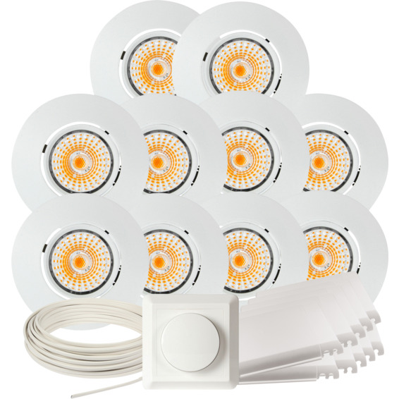 Komplett Altea Tilt LED Downlightpakke Matt Hvit 10 pk