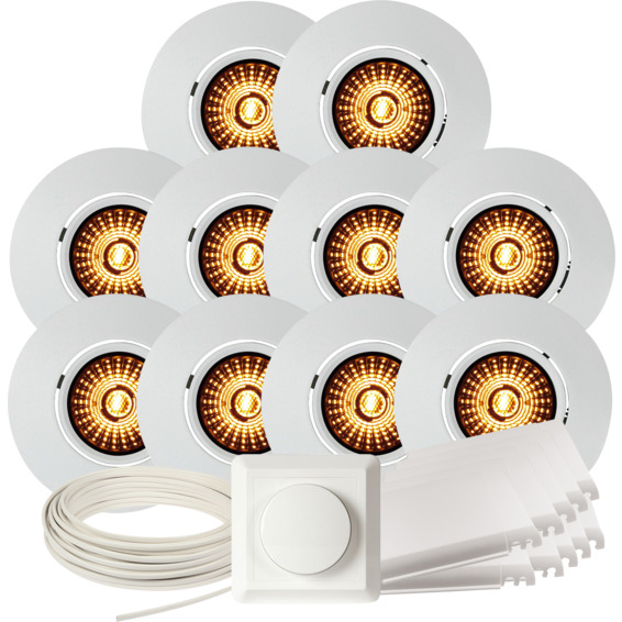 Komplett Altea Tilt WarmDim Downlightpakke Matt Hvit 10 pk
