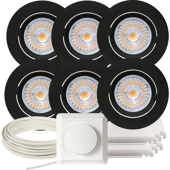 Komplett Alfa LED Downlightpakke Matt Sort 6 pk