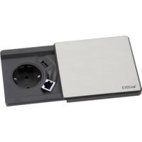 EVOline Square80 sølv 1xstikk 1x1000mA USB RJ45 Cat.6