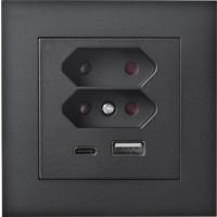 Plus USB lader/2xEuro I Sort