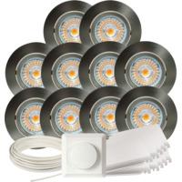 Komplett Alfa LED Downlightpakke Børstet Stål 10 pk