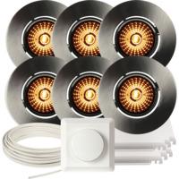 Komplett Altea Tilt WarmDim Downlightpakke Børstet Stål 6 pk