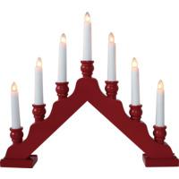 Lysestake 7 lys tre rød kaschering