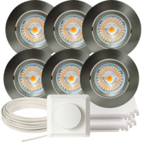 Komplett Alfa LED Downlightpakke Børstet Stål 6 pk V2