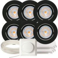 Komplett Alfa LED Downlightpakke Matt Sort 6 pk